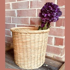 Sturdy Wicker Woven Band Top Large Planter Basket